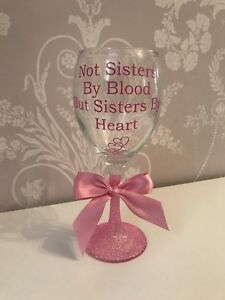Personalised Glitter Wine Glass - Sisters - Best Friend  - Birthday - Christmas