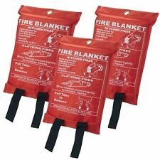 5x Home Safety Fire Blanket Large 1mx1m in Case Quick Release Protection Kitchen