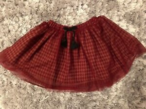Zara Dogstooth Burgundy Skirt 3-4 Bnwt