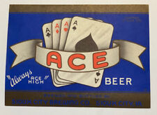 Vintage Beer Label Pre-Pro Ace Beer 12oz Sioux City Brewing Co. Sioux City, Ia.