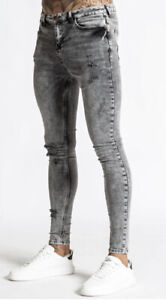 Bee Inspired Mens Brooking Skinny Stretch Jeans-Grey