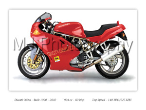 Ducati 900ss Super Sport Motorcycle A3 Size Print Poster on Photographic Paper