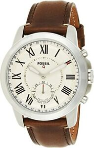 Fossil Men's Grant Stainless Steel and Leather Hybrid Smartwatch FTW1118