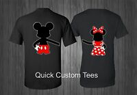 MICKEY AND MINNIE T-SHIRT HOLDING HANDS MATCHING CUTE LOVE T-SHIRTS COUPLES NEW