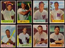 1954 Bowman Washington Senators 8 DIFF Vernon Shea Busby Coan Vollmer McDermott