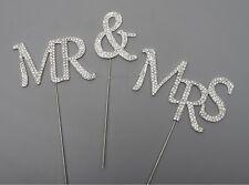 Wedding Cake Topper Pick Decoración Plata Sr. & Sra. de diamantes de imitación Diamante