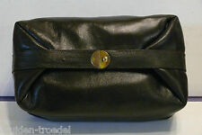 Herren Kultur-tasche Leder schwarz, NEU Made In Italien