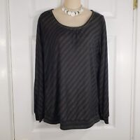 APOSTROPHE Size Large Black & Gold Metallic Stripe Long Sleeve Shirt Top Blouse