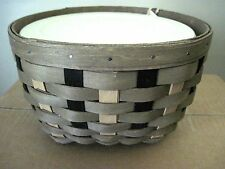 Longaberger~ Khaki Check All Things Round Basket Combo w/Lidded Protector nwt