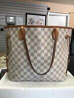 Louis Vuitton Neverfull MM Damier Azur Tote Handbag Bag - WORN - READ