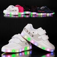 Kids Boys Girls Children Luminous LED Light Up Sports Sneakers Dance B