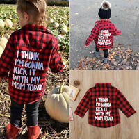 Hot Toddler Kids Baby Boys Girl Clothes Plaid Long Sleeve T-shirt Tops Coat