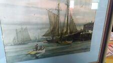 Large Vintage Gordon Grant Boat Ship Dock Print - Matted & Framed