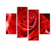 PINK ROSE CANVAS WALL ART PICTURES FRAMED PRINTS 4 PIECE HOME DECORATION IMAGES