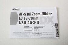 Nikon AF-s ED 18-70mm f3.5-4.5 G Instruction Sheet 18-70 3.5-4.5 Manual++NICE
