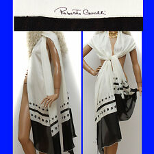 $705 ROBERTO CAVALLI  Black / White SILK SCARF w/ Price