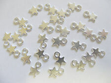 50 Silver Plated Star Charms/Pendants - 8mm x 10mm