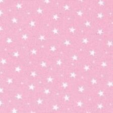 BABY PINK WITH 3MM WHITE STARS 100% COTTON FABRIC F.Q'S