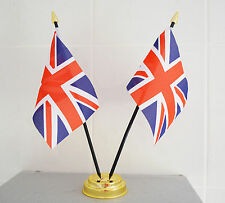 "UNION JACK UNITED KINGDOM TABLE FLAG X 2 WITH GOLD BASE desktop flags 6"" x 4"" UK"