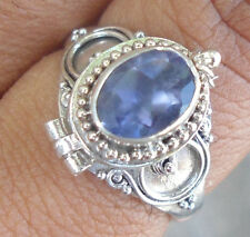 925 Sterling Silver Balinese Poison Locket Ring W Iolate Size 8-Rl02