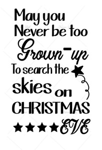 Search the skies on Xmas eve light up bottle vinyl decal Christmas any colour