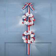 4th of July Lighted Patriotic Roses Double Door Welcome Wreath