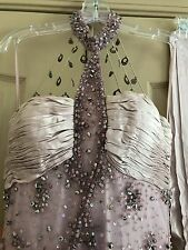 Sue Wong Size 4 Lavendar Silk Hand Beaded Gown And Shawl.