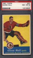 1957 Topps #20 Glenn Hall Rookie HOF Black Hawks PSA 8 *644906
