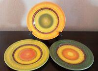 Certified International Nancy Green Salad Plates x3 Green Orange Yellow Scrolls