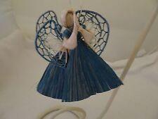SET OF 2 ANGEL FIBER CHRISTMAS TREE ORNAMENTS-BLUE/TAN-NEW-