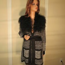 NWT NANETTE LEPORE BLACK WOOL MONGOLIAN FUR RIESLING SWEATER COAT JACKET L/LARGE