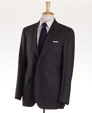 NWT $7495 KITON NAPOLI Peak Lapel Brown-Burgundy Stripe Wool Suit 40 R (Eu 50)