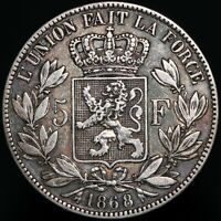 1868 | Belgium Leopold II 5 Francs | Silver | Coins | KM Coins