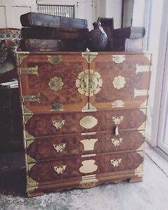 Vintage Mid Century Asian Oriental Chinese Tallboy Cabinet Chest of Drawers