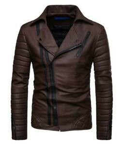 Men's Motorcycle Jacket Quilted Designs Jacket Genuine Man-Made Leather Coat