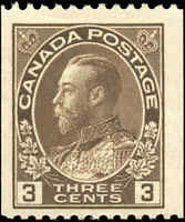 Mint H Canada 1921 3c Coil F+ Scott #134 King George V Admiral Stamp