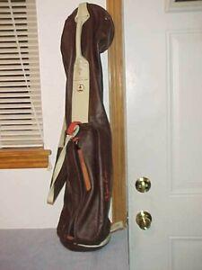 """Vintage Mackenzie Walker Brown Leather SUNDAY """"Wyatt EARP"""" Golf Club Bag, 33"""""""