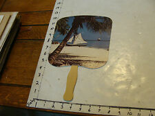 vintage undated cruse ship paper fan with photo from ISLAND ship in background