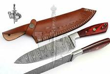 WP-KNIVES CUSTOM MADE DAMASCUS BLADE CHEF/KITCHEN KNIFE-1-PIECE With Sheath