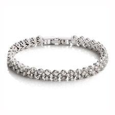 925 Sterling Silver Shiny Crystal Roman Chain Bracelet For Women Wedding Jewelry