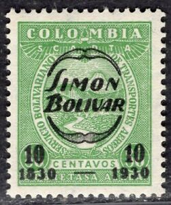 COLOMBIA SCADTA AIR MAIL 1930 STAMP Sc. # C 80 MH