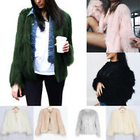 Women Fluffy Autumn Winter Warm Outcoat Arificial Fur Jacket Top Coats Outwear
