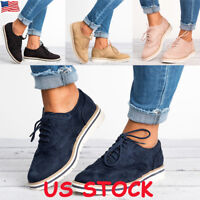 Women's Flat Oxfords Shoes Ladies Lace Up Smart Office Vintage Brogue Trainers