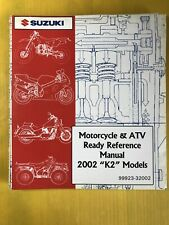 "2002 Suzuki Motorcycle & Atv ""K2� Models Ready Reference Manual Used"
