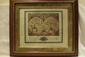 Offset Lithograph Map Orbis Terrarum Descriptio Duobis Planis Hemisphaeriis 1632
