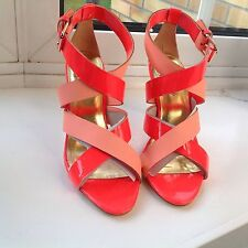 TED BAKER Gladiator Heel Sandals in Pink and Orange.New 4 UK.RRP £110