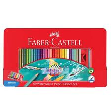 Faber-Castell 60 Watercolour Pencil Art Sketch Drawing Gift Tin Wheel Brush Shar
