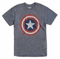 Marvel Captain America - Shield - Men's Grey Large T-Shirt Graphic Tee