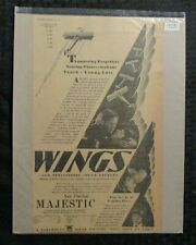 1928 WINGS Movie Print Ad 8.5x14 FN 6.0 Clara Bow, Charles 'Buddy' Rogers