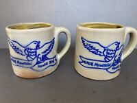 """VTG Lot 2 Art Pottery Mugs Handcrafted Hand Thrown """"Eagle Mtn"""" Primitive Rustic"""